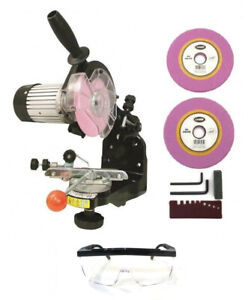 Electric-Chainsaw-CHAIN-SHARPENER-w-Grinding-Wheels-1-8-034-amp-3-16-034-amp-Glasses