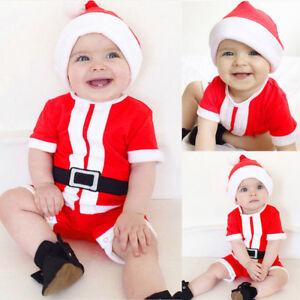a376ace1d Infant Baby Girls Boys Santa Claus Christmas Hat+Romper Jumpsuit ...