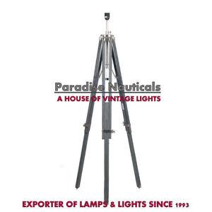 Wood-Tripod-Floor-Lamp-Light-Grey-Finish-Home-Decor-Lighting-New