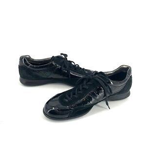 Ecco-Black-Leather-Suede-Womens-Tennis-Shoes-Size-40-9-9-5-Lace-Up-Comfort