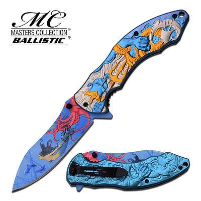 "8.5"" BLUE POSEIDON SPRING ASSISTED FOLDING KNIFE Blade pocket open switch"