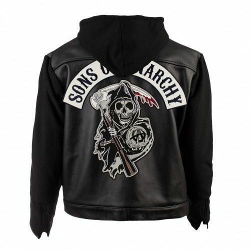 SOA Sons of Anarchy Hooded Real Leather Jacket