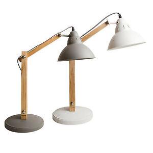 tischlampe b roleuchte lampe leuchte schreibtischlampe b rolampe holz wei ebay. Black Bedroom Furniture Sets. Home Design Ideas