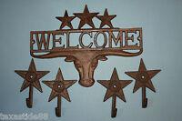 (5)pcs, Longhorn Welcome Sign, 4 Lonestar Wall Hooks, Texan Welcome Sign,texans