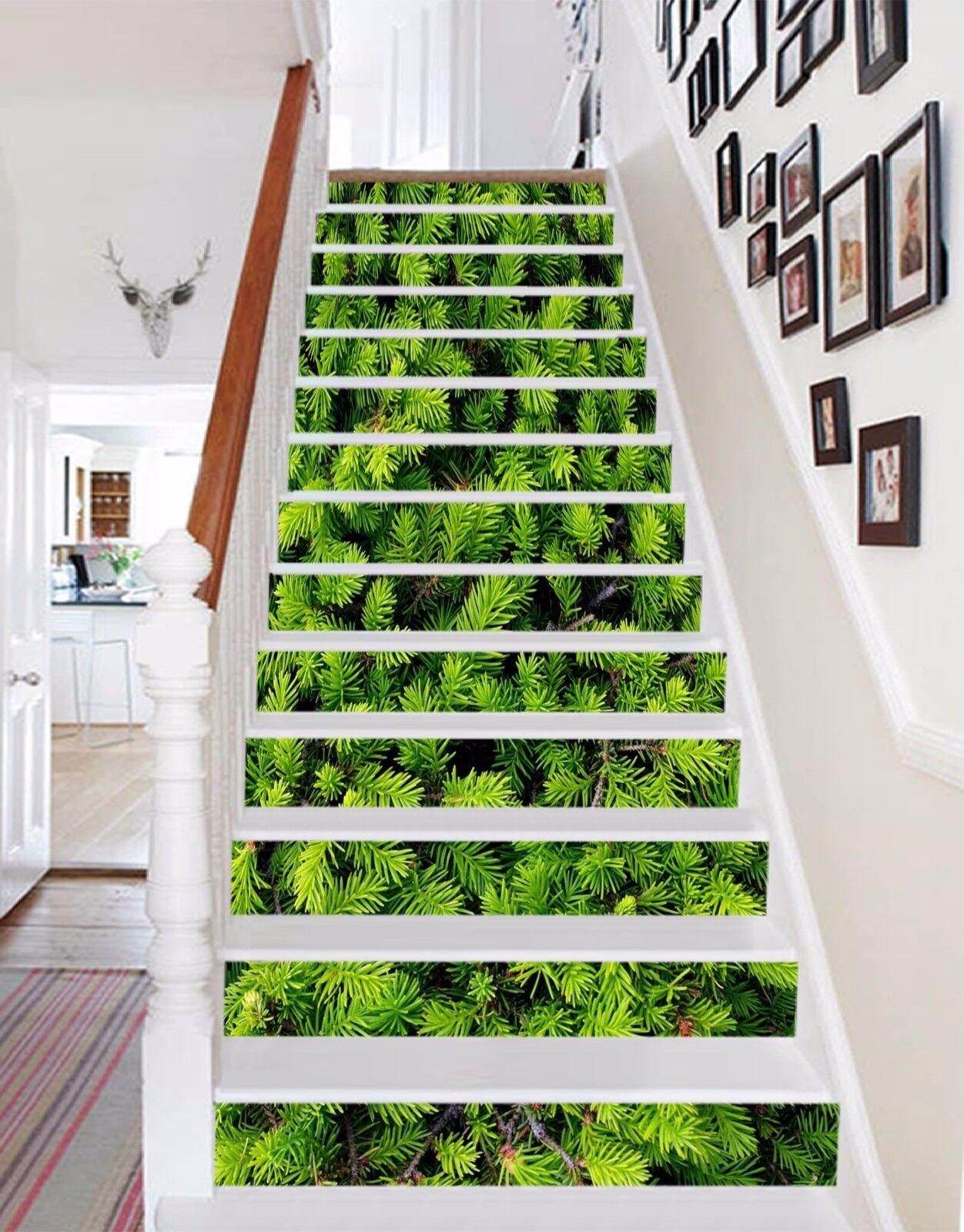 3D Grün leaves 7 Stair Risers Decoration Photo Mural Vinyl Decal Wallpaper UK