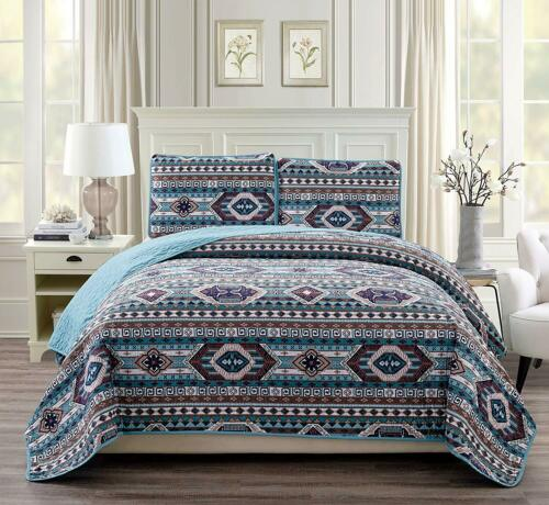 BEAUTIFUL COZY BLUE BROWN TURQUOISE SOUTHWEST LOG CABIN LODGE COUNTRY QUILT SET