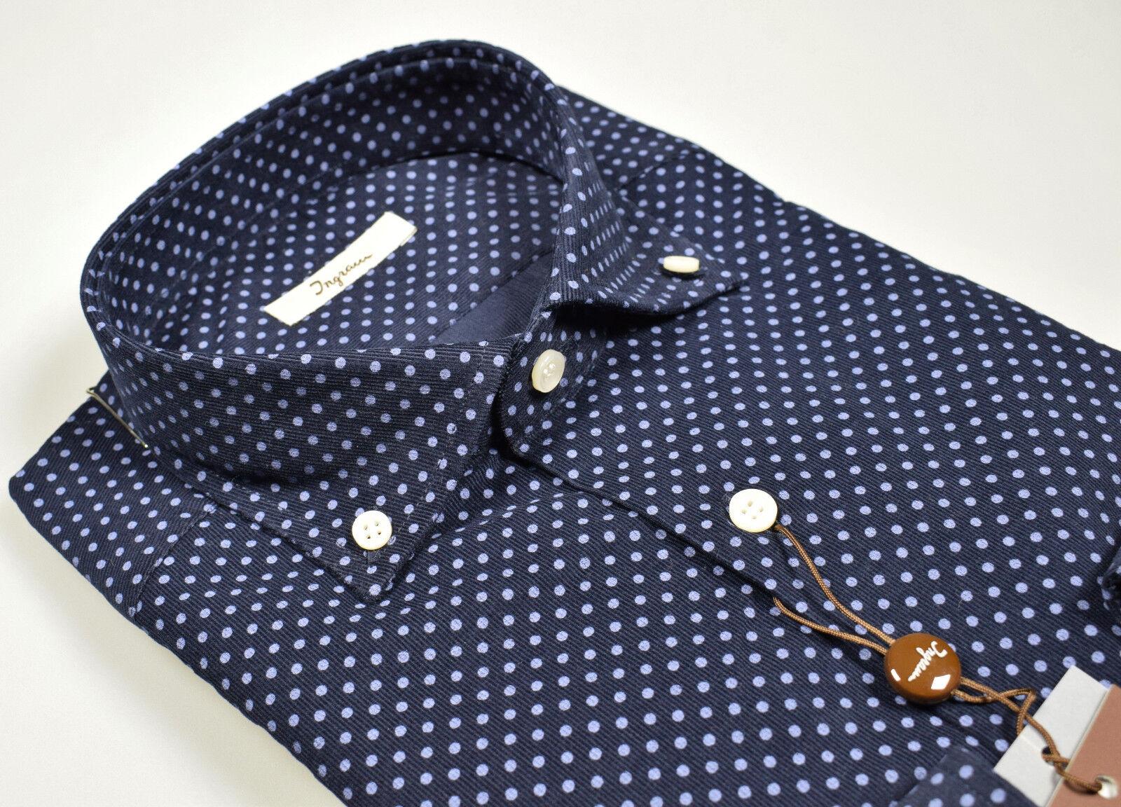 Camicia in Velluto stampato a Pois Ingram Button Down Regular Fit Inverno 18/19