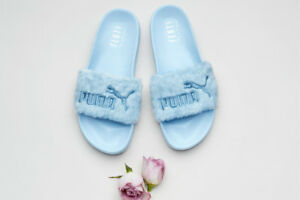 Details about Puma Fenty By Rihanna Fur Slides Cool Blue Size 7.5
