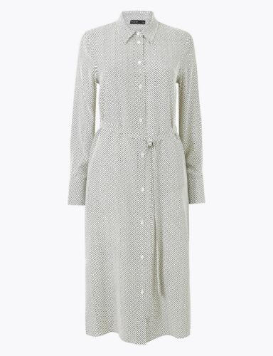M/&S AUTOGRAPH  Pure Silk Printed Shirt Dress PRP £119