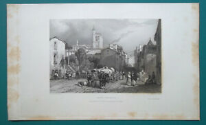 FRANCE-View-in-Clermont-or-Mont-Ferrand-1833-Antique-Print-Engraving