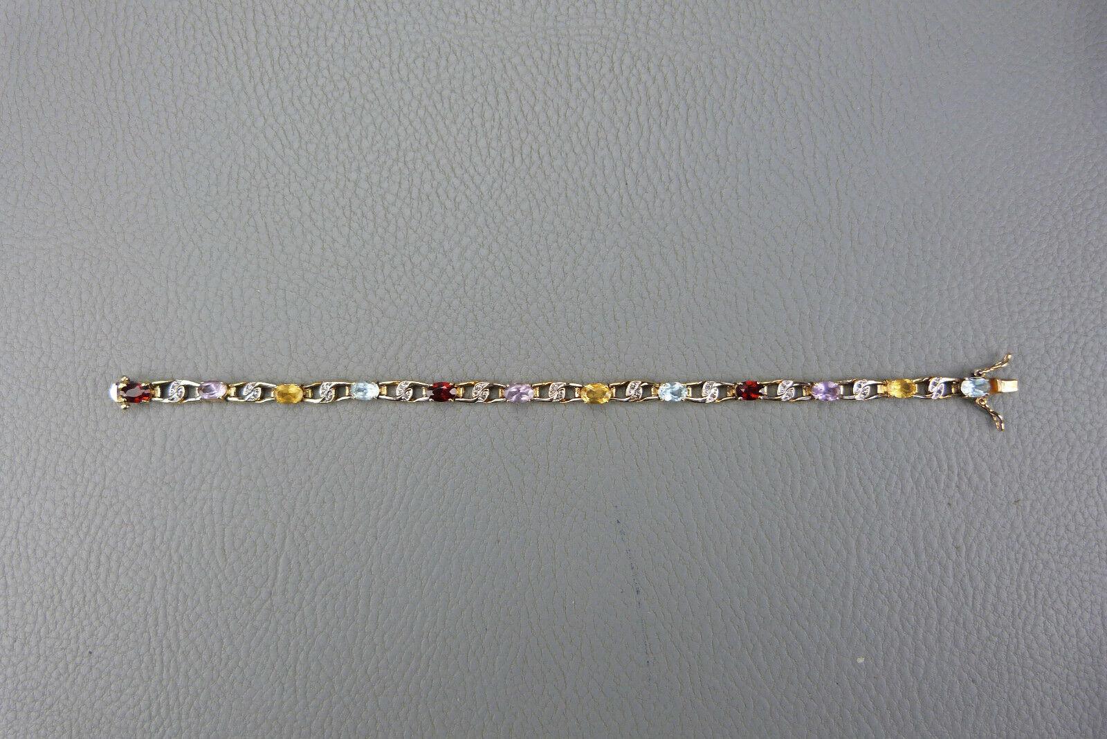 Ravissant bracelet en vermeil serti de pierres précieuses, poinçon minerve, Tbeg