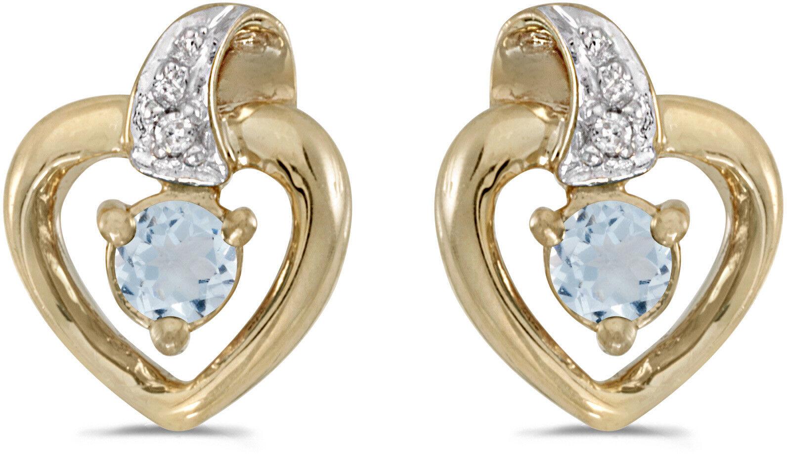 408b9e708836c Aquamarine Round gold Yellow 10k Diamond And Earrings Heart ...
