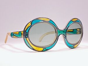VINTAGE-MICHELLE-BREVET-1950-039-S-STAINED-GLASS-BLUE-amp-YELLOW-SUNGLASSES-FRANCE