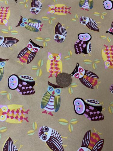 Gold Multicolour Owl Print Fabric 100/% Cotton Poplin Dressmaking Crafts Quilting