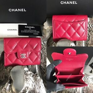 cc73a165c9f1 CHANEL 18B Pink Caviar Flap Card Holder Case Coin Purse BACK POCKET ...