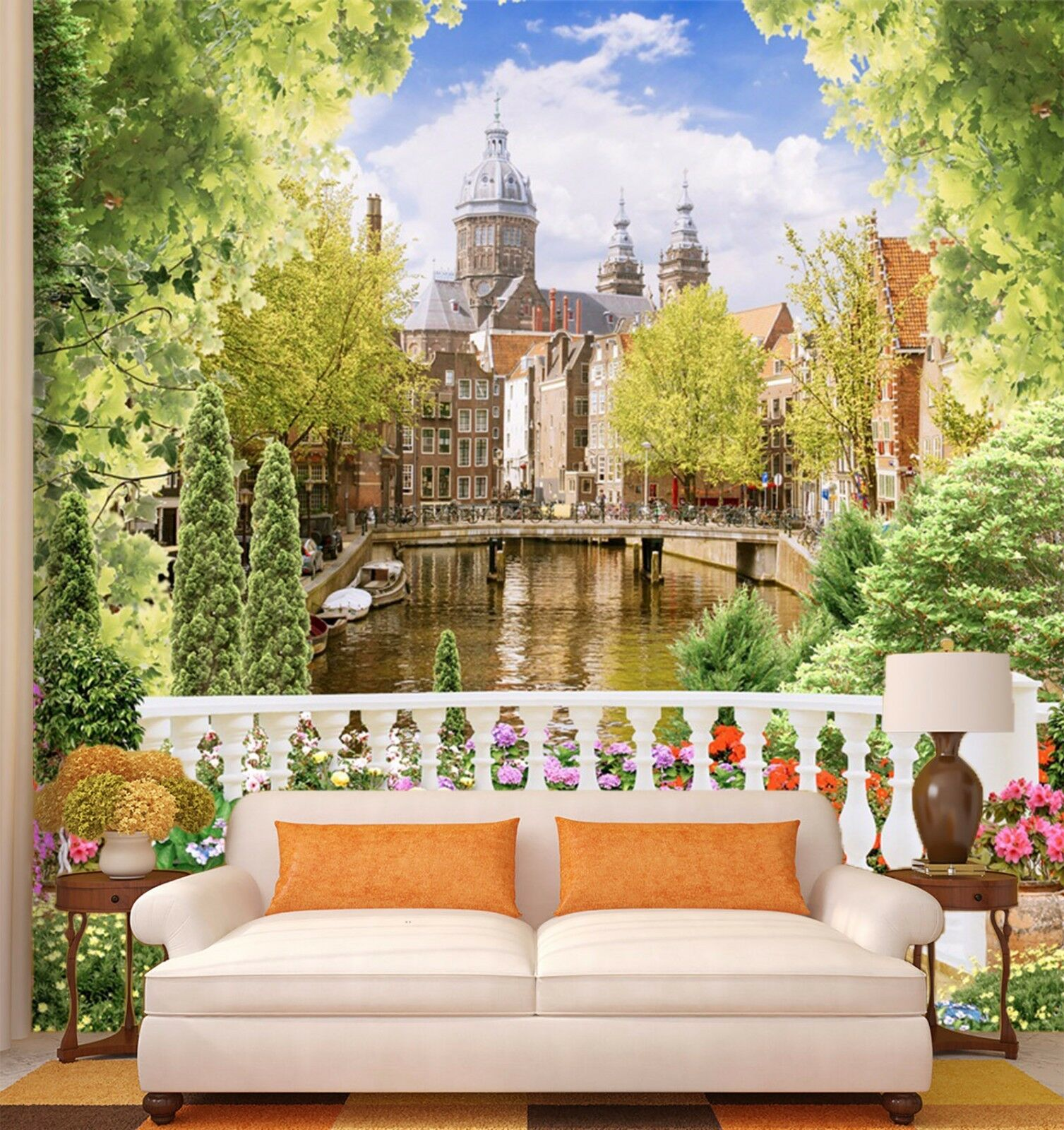 3D city river tree flower Wall Paper Print Decal Wall Deco Indoor wall Mural