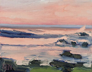 ORANGE-TOPS-FOUR-Original-Expression-Seascape-Ocean-Oil-Painting-8x10-022719-KEN