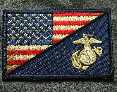 5PC USA FLAG MARINE CORPS USMC SUBDUED DRK NAVY MORALE HOOK PATCH