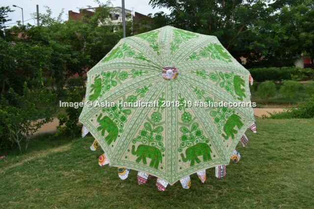 Indian Handmade Embroidered Garden Umbrella Outdoor Patio Parasol Beach Umbrella
