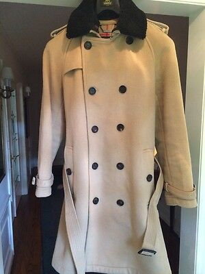 Burberry Double Breasted Wool And Cashmere Coat With Shearling Collar Nwot 42R