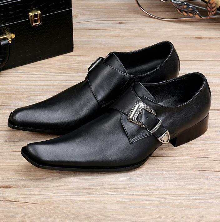 Mens Square Toe Leather Buckle Dress Formal Casual shoes Slip On Loafer Business