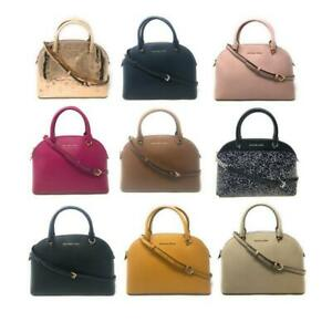 Michael Kors Emmy Large Dome Satchel Leather Handbag Crossbody Purse
