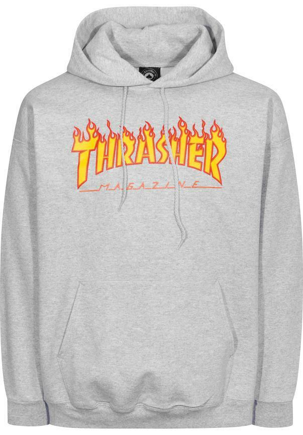 THRASHER Flame Hooded Sweatshirt graumottled S      | Offizielle