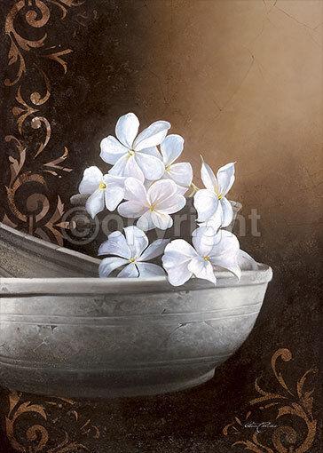 Beauvoir   Jasmin BOWL asia-style tableau prêt 50x70 mural Feng Shui Asie