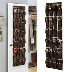 Image is loading 24-Pocket-Over-The-Door-Hanging-Shoe-Rack-  sc 1 st  eBay & 24 Pocket Over The Door Hanging Shoe Rack Organizer Storage Wall ...