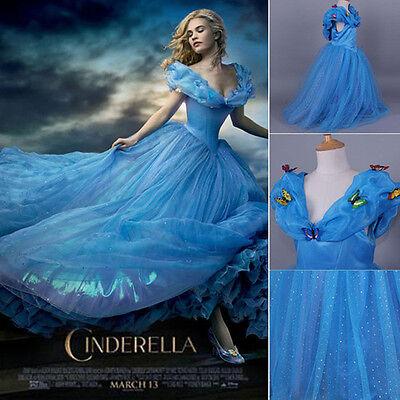 2015 Disney-Princess Deluxe Cinderella Wedding Dress UP Girl's Kids Party Fancy