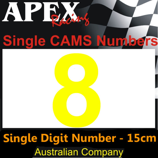 Window Number 8 Sticker - 15cm High - CAMS Approved Race Rally Drift - Yellow