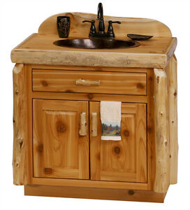 Custom Rustic Cedar Wood Log Cabin Lodge Bathroom Vanity Cabinet ...