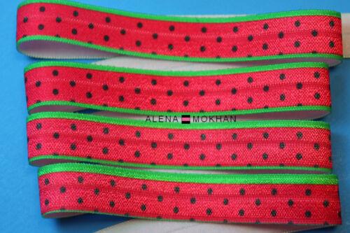 "5 yards  5//8/"" Summer Watermelon  Red FOE Fold Over Elastic Ribbon Trim"