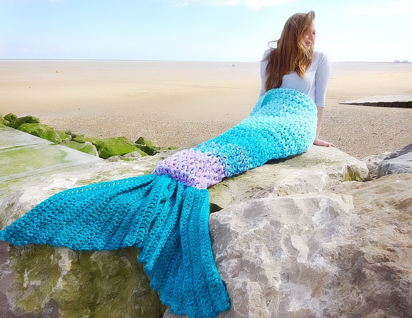 Crocheted Mermaid Tail Blanket ombré baby-adult gift for her chunky throw uk