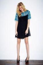 BNWT Love Label Black Chiffon Teal Lace Shift Swing Dress Size 12 RRP £69