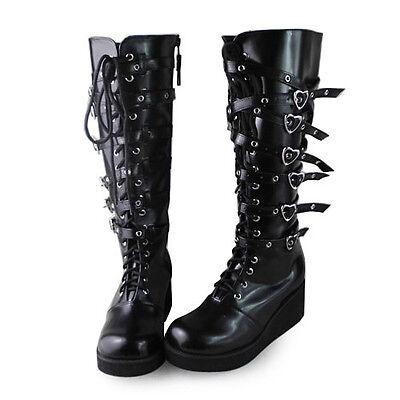 schwarz punk gothic lolita stiefel boots Shoes Schuhe rock Plateau cool emo new