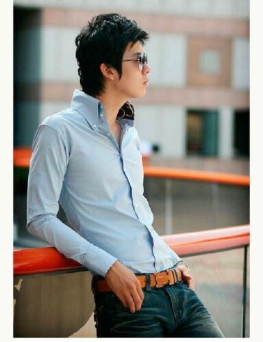 New Fashion Mens Casual Slim Fit Button Down Long Sleeve Shirts Light Blue