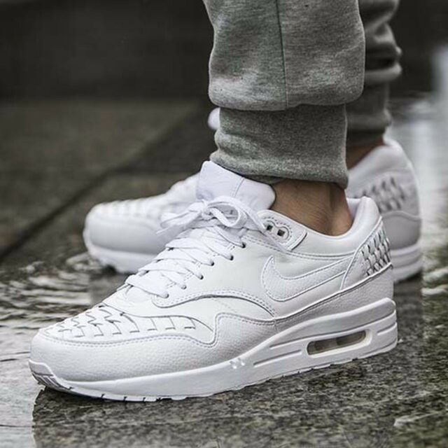 the latest 1f960 820a1 Nike Air Max 1 Woven  White  725232-100 Mens Sz 9 Leather