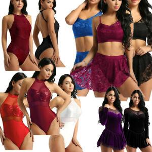 Women-Lace-Asymmetric-Lyrical-Ballet-Leotard-Dance-Dress-Mesh-Gymnastics-Unitard