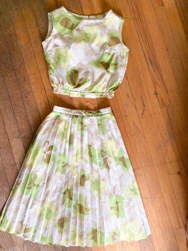 1950's Vintage Bobbi Brooks Crepe Green Floral Two