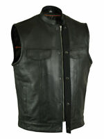 Men Soa Motorcycle-sons-of-anarchy-blk-leather-vest-w-gun-cell Glasses Pocket