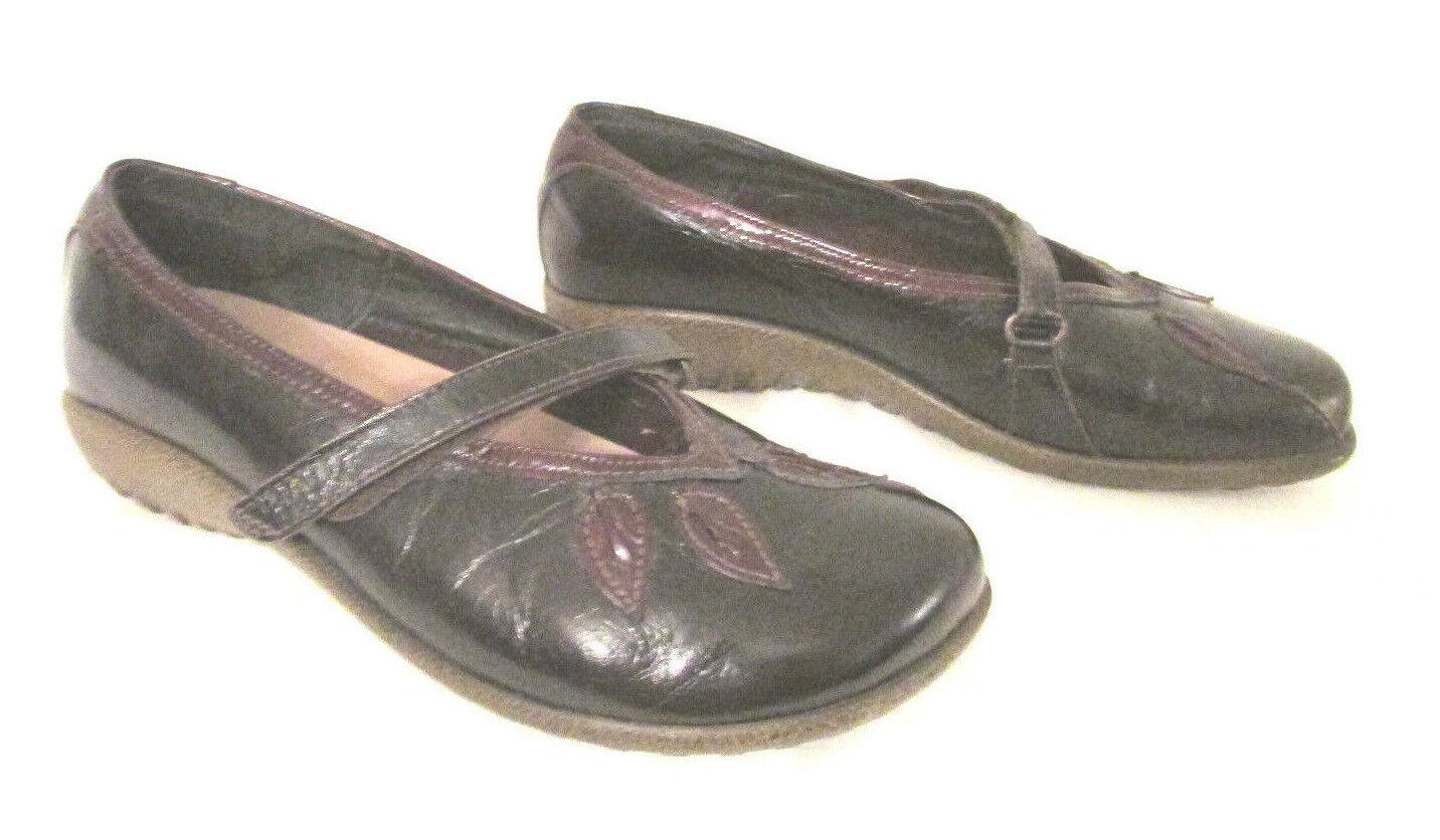 Naot Polar Sea Mary Jane Ballet Flats Shoes sz 37 EUC L6 Shiny Brown Leather EUC 37 db7a6a