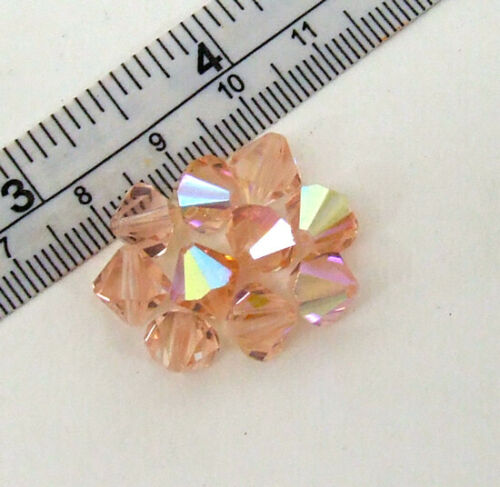 Lot 10 8mm Rose Peach AB Finish Bicone Faceted Crystal Glass Beads Loose 5301