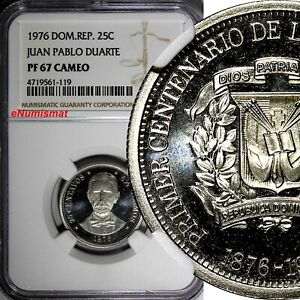 DOMINICAN-PROOF-1976-25-Centavos-NGC-PF67-CAMEO-Mintage-5-000-TOP-GRADED-KM-43