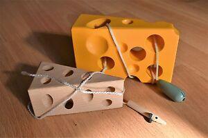 educationalwooden threading toy game cheese yellow plain tree beads