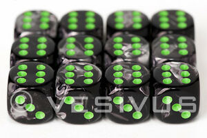 Chessex 12mm D6 36 Dice Block Marble Green With Dark Green Raru