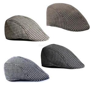 Men-Womens-Unisex-Houndstooth-Beret-Cap-Cabbie-Casquette-Pageboy-Flat-Peaked-Hat