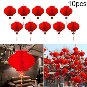 10pcs-Set-Red-Paper-Round-Lanterns-Chinese-New-Year-Springs-Festival-Accessory