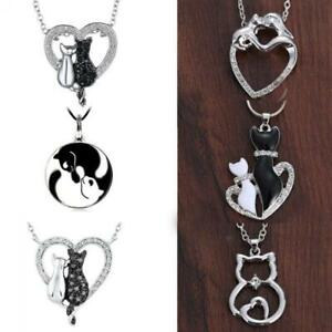 crystal-animal-pierre-des-bijoux-pendentif-coeur-black-amp-white-de-chats-collier