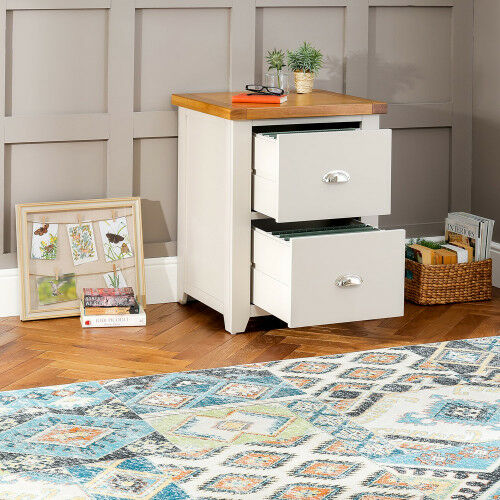 Downton Grey Painted 2 Drawer Filing Cabinet Office Storage DT55